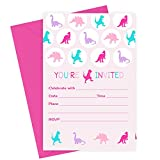 Girls Dinosaur Birthday Party Invitations (Fill In) Set of 15 with Envelopes