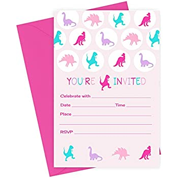Girls Dinosaur Birthday Party Invitations Fill In Set Of 15 With Envelopes
