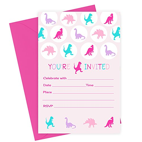 Girls Dinosaur Birthday Party Invitations - Pack of 15 with Envelopes