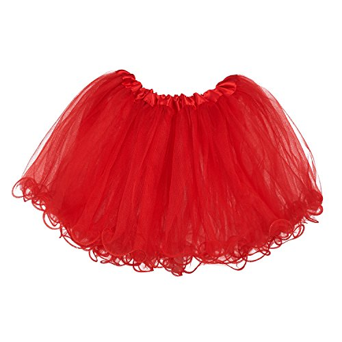 (My Lello Little Girls Tutu 3-Layer Ruffle Edge Red (4 mo - 3T))