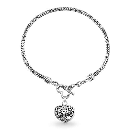 Willowbird Sterling Silver Tree Of Life Heart Charm Toggle Byzantine Bracelet for Women