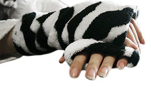 Winter Warm Soft Fingerless Gloves Lovely Cute Plush Half Finger Gloves Mittens Warmer for Women Ladies Girls, Great Christmas/New Year/Velentine's Gift Black White Cow