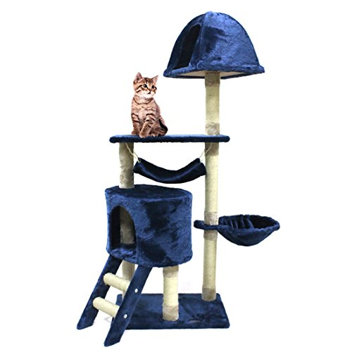 CUPETS Multi-Level Pet Play House Condo Furniture Scratching Post Cat Tree Scratcher Cat Climber Cat House Cat Condo,Blue (Cat Blue Tower)