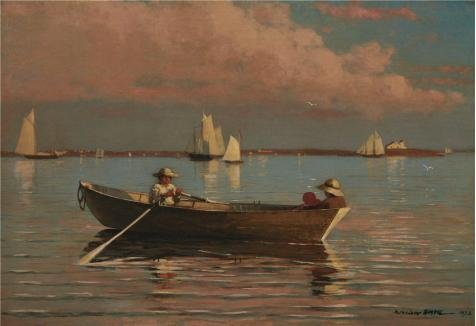 s ,the Cheap But High Quality Art Decorative Art Decorative Prints On Canvas Of Oil Painting 'Winslow Homer,Gloucester Harbor,1873', 24x35 Inch / 61x89 Cm Is Best For Dining Room Gallery Art And Home Gallery Art And Gifts ()