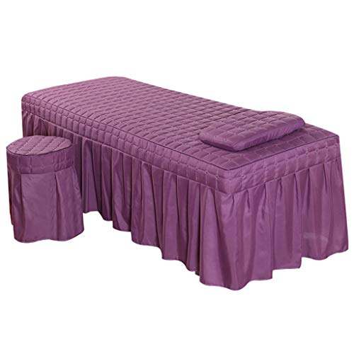 Flameer Massage Hotel Face Table Linen Set Bed Skirt Valance Sheet with Face Breath Hole Pillow Case Stool Cover for Beauty Salon Tattoo – Purple-S