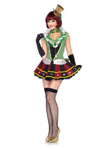 Sexy Lady Luck Costumes (Leg Avenue Costumes 3Pc.Lucky Lady Dress Choker and Detachable Back Clover Bow, Multicolor, Small)