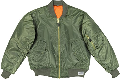 Army Universe MA-1 Air Force Military Bomber Flight Jacket Pin (Sage Green, Size X-Large - Chest 45