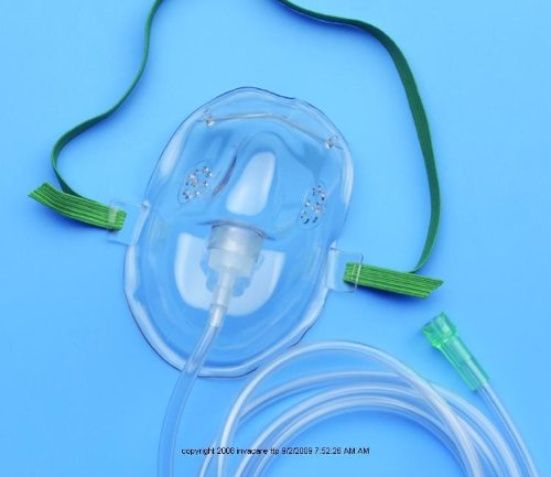 AirLife® Adult Oxygen Mask with 7-foot Tubing-Tubing Length: 7' - UOM = Case of 50