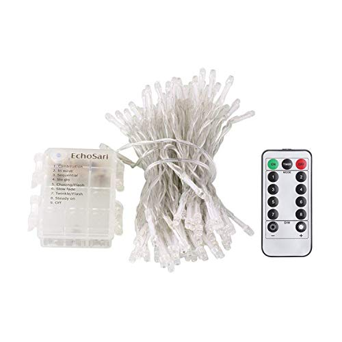 echosari 100 LEDs Outdoor LED Fairy String Lights Battery Operated with Remote (Dimmable, Timer, 8 Modes) - Cool White
