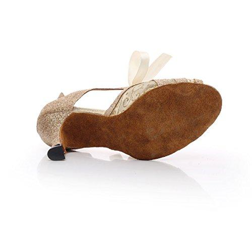 JSHOE Womens Lace-Up Net Moderne Salsa Tango Ballroom Latine De Soirée De Mariage Chaussures De Danse,Gold-heeled7.5cm-UK3.5/EU34/Our35