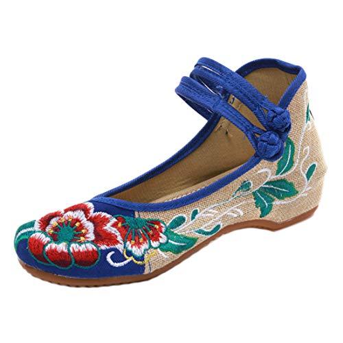 Des Danse Ronde Floral Femmes Simples Bleu De Chaussures Broderie Aiweijia Tête dqZPxW6Z
