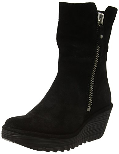 Fly London Dames Yex668fly Mid-kalf Laars Zwart / Diesel Oil Suede