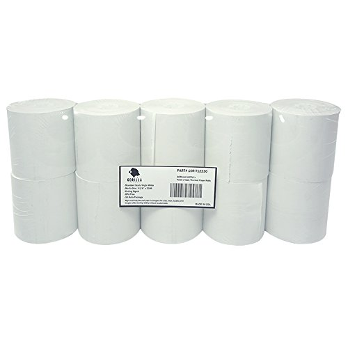 Gorilla Supply Thermal Receipt Paper Rolls 3-1/8 x 230ft, 10 rolls Sealed Pack