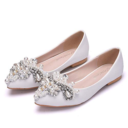 Bridal Wedding EU34 Slip Ladies Womens 01C Pumps Scarpe Flower Da Ager Strass Scarpe D'onore On Damigella Ele White nwWnRI