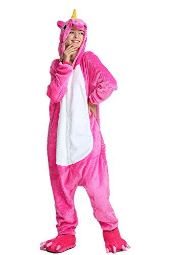 KiKa Monkey Flanela Unicornio Cartoon Animal Novedad Navidad Pijama Cosplay (S, Rosa)