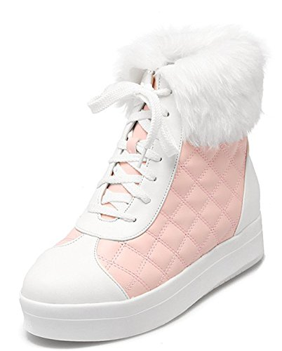 Up Women's Pink Sweet Toe Heels Aisun Round Booties Lace Heighten P0daqPBwx