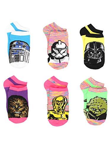 Star Wars Girls Teen Adult Womens 6 pack Socks (6-8 (Shoe: 10.5-4), Galaxy Neon -