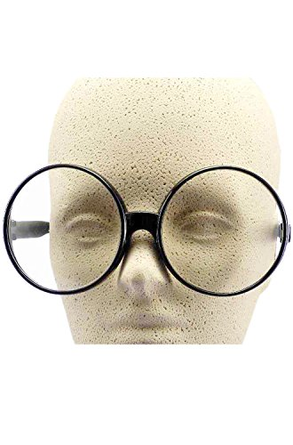 Big Round Eye Glasses - Black - Guys Nerd Glasses With