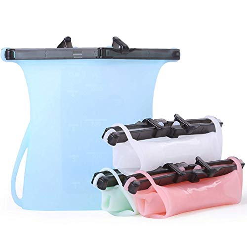 Reusable Silicone Storage Bags: 4 PACK 2019 Design Premium Quality Silicone with Locking Clip Great for Food Storage, Organization, Camping and Outdoors