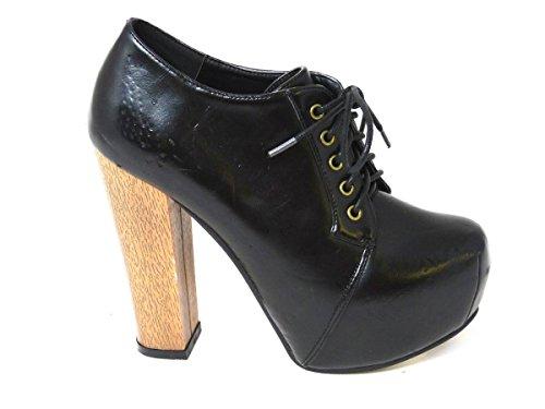 Faux fille femme Compensées Black Leather SKO'S 303 Sandales aCRqwgF