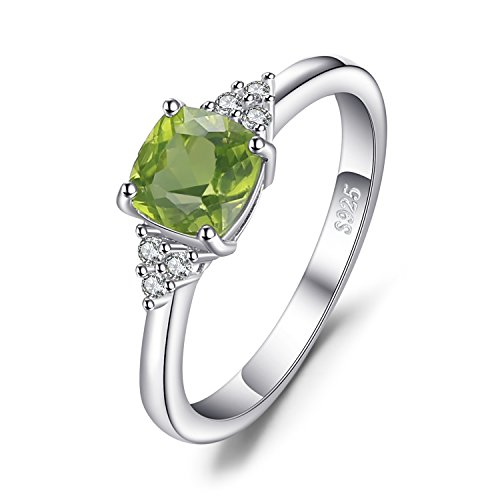 JewelryPalace 1.2ct Cushion Cut Genuine Peridot Ring 925 Sterling Silver Size 7