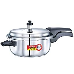 Prestige Alpha PRSDADPP Induction Base Stainless Steel Deluxe Deep Pressure Pan, Small, Silver