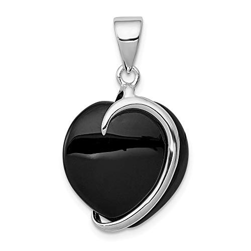 925 Sterling Silver Black Onyx Heart Pendant Charm Necklace Love Fine Jewelry Gifts For Women For ()