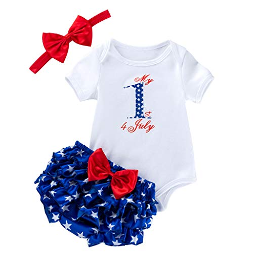 3Piece Toddler Baby Girls Clothing Sets, My 1st 4th of July Print Basic T Shirt Romper+ Bow Ruffle Short + Hair Band Outfits White]()