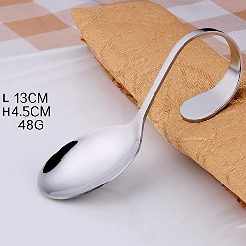 Hot Sale!DEESEE(TM)1pcs Stainless Steel Curved Handle art Fork Salad Round Spoon Tip Spoon Soup Spoon (A)