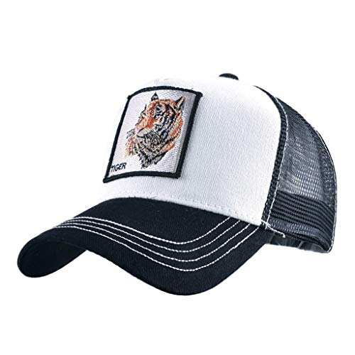 Unisex Animal Mesh Trucker Hat Strapback Square Patch Baseball Caps (One Size, Black White Tiger)
