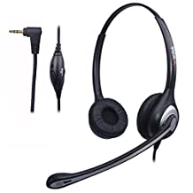 Wantek 2.5mm Telephone Headset Binaural with Noise Canceling Mic for Cisco Linksys SPA Grandstream Polycom Panasonic Zultys Gigaset Office IP and Cordless Dect Phones (F602J25)