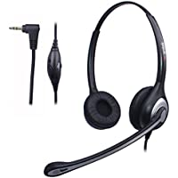 Wantek 2.5mm Telephone Headset Dual with Noise Canceling Mic + Volume Mute Control for Panasonic Grandstream Polycom Gigaset Cisco Linksys SPA Zultys Office IP and Cordless Dect Phones(602J25D)