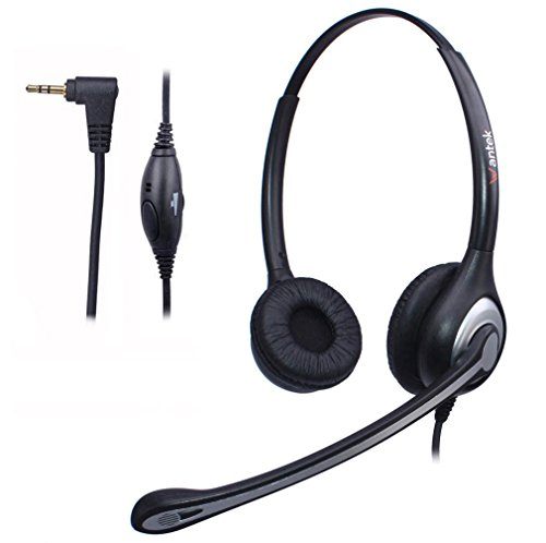Wantek 2.5mm Telephone Headset Binaural with Noise Canceling Mic for Cisco Linksys SPA Grandstream Polycom Panasonic Zultys Siemens Gigaset Uniden AT&T Office IP and Cordless Dect (Ge Telephone Headset)
