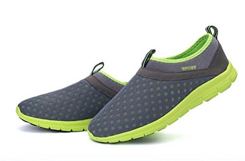 VECJUNIA Herren Atmungsaktive Slip-On Leichte Outdoor Laufslipper Grün