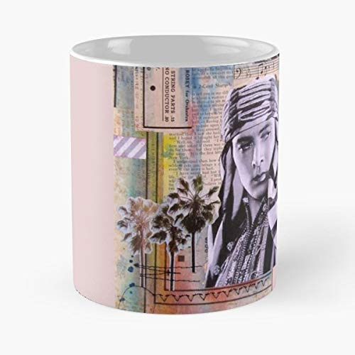 Valentino Rudolph Collage Paper - Morning Coffee Mug Ceramic Novelty Holiday 11 Oz