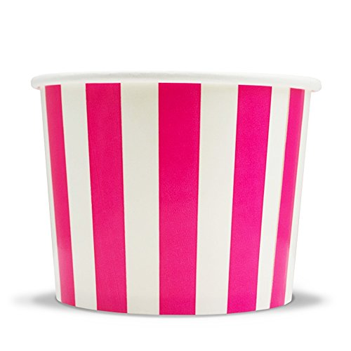 Pink Floral Soup Bowl - Pink Paper Ice Cream Cups - 12 oz Striped Dessert Bowls - Perfect For Your Yummy Foods! Many Colors & Sizes - Frozen Dessert Supplies - Fast Shipping! 50 Count