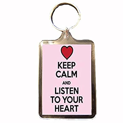 Amazon.com: Escucha tu corazón – Llavero con texto en inglés ...