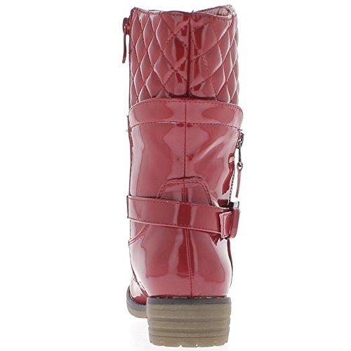 Damen Stiefel rot lackiert Ferse 4cm gefüllt