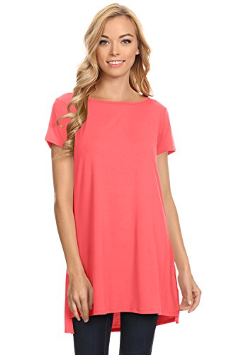 Coral Short Sleeve Long Tank Top for (Tank Coral)