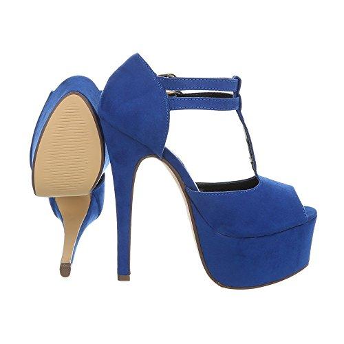 Heels Schuhe High Sandaletten Damen Blau Pumps qZfSOw
