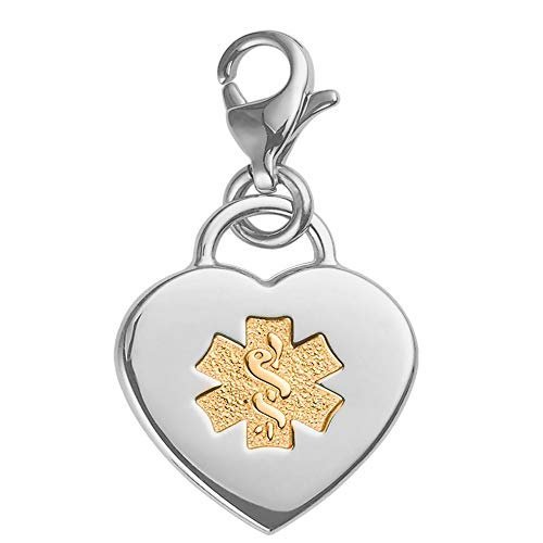Divoti Deep Custom Laser Engraved Adorable Heart 316L Medical Alert Charm/Medical ID Charm w/Lobster Clasp-PVD Gold