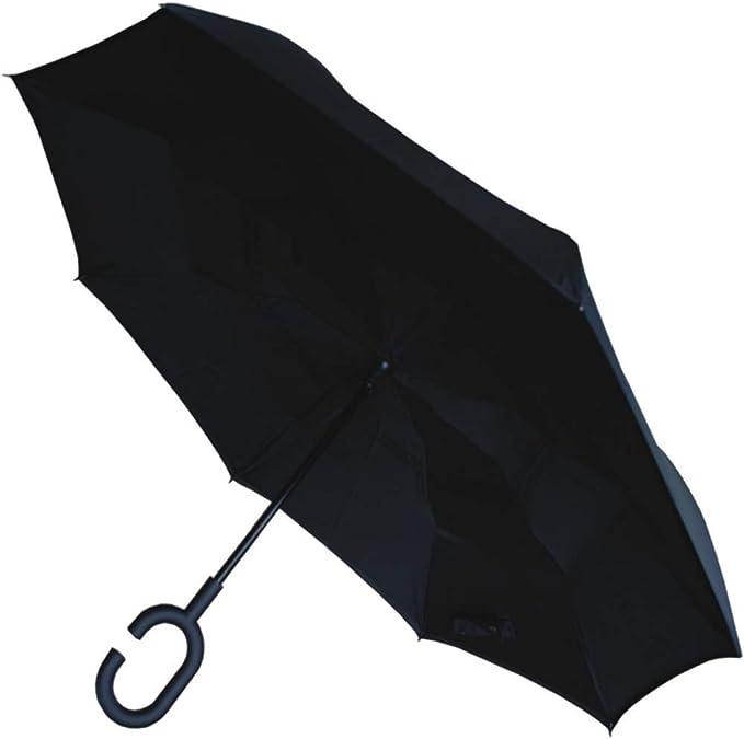 COLLAR AND CUFFS LONDON TR/ÈS Robuste Inverse /À lenvers Design Parapluie Invers/é Conception HAUTEMENT Technique pour Combattre Les DOMMAGES CAUS/ÉS par Les RETOURNEMENTS Noir Double Couche
