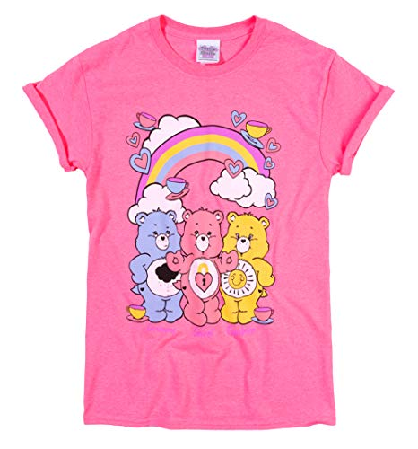 Womens Care Bears Hearts and Tea Cups Rolled Sleeve Boyfriend T Shirt Pink ()