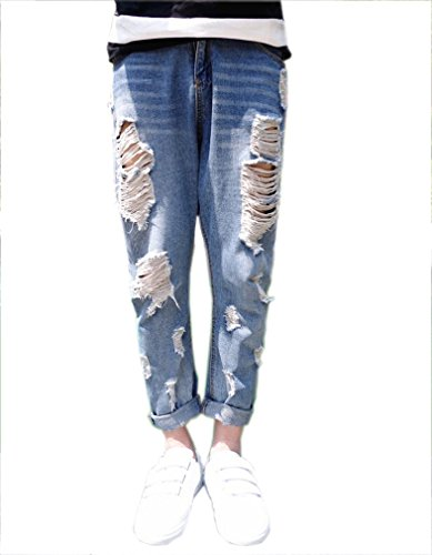 Easy Men Fashion Rock Ripped Big Hole stone wash Baggy Jeans blue ...