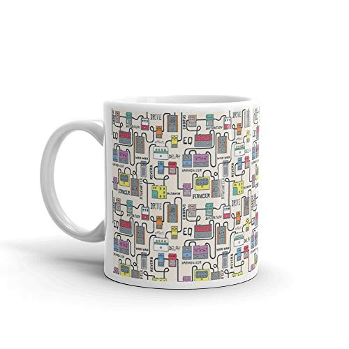 (Guitar Pedals Colorful Seamless Pattern Hand Drawn Stonher Coffee Mug Ceramic Cups 11oz)
