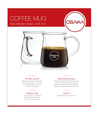 Osaka Borosilicate Glass Coffee Mug – Thermal Shock Proof, Condensation-Free and Specially Designed Rim for Comfort, Set of Two Coffee Mugs – 10 oz. Each