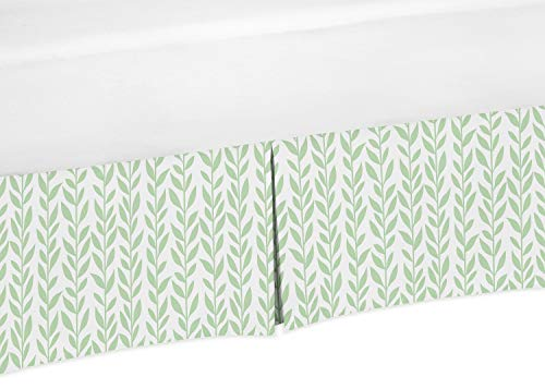 Sweet Jojo Designs Green and White Leaf Floral Girl Pleated Baby Nursery Crib Bed Skirt Dust Ruffle - Boho Farmhouse Sunflower Collection from Sweet Jojo Designs