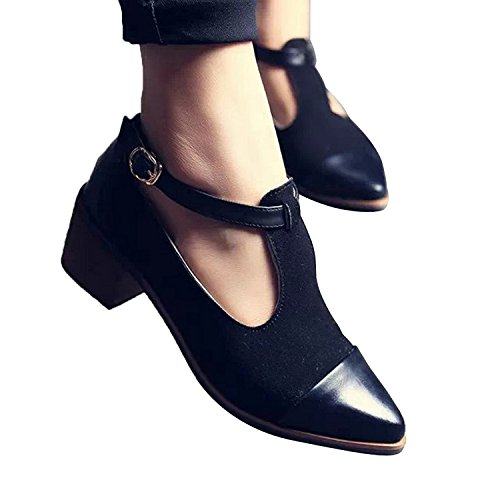 Xipai Women's Vintage Cute Oxford Low Heel Pointed Toe Ankle Boot Shoes Black US (Vintage Flat Boots)