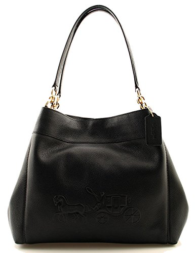 COACH Pebble Leather Logo Lexy Shoulder Bag in Black, - Cheap Coach Outlet