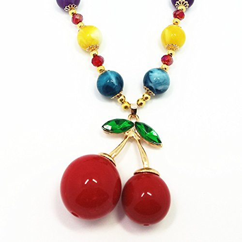 QTMY Cherry bead Choker Necklace long Chain Bohemian Jewelry with Pendant for teen - Pendant Bronze Cherry